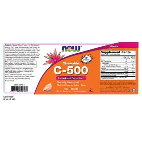 Vitamin C-500, 100 Chewable Tablets, Natural Orange Flavor